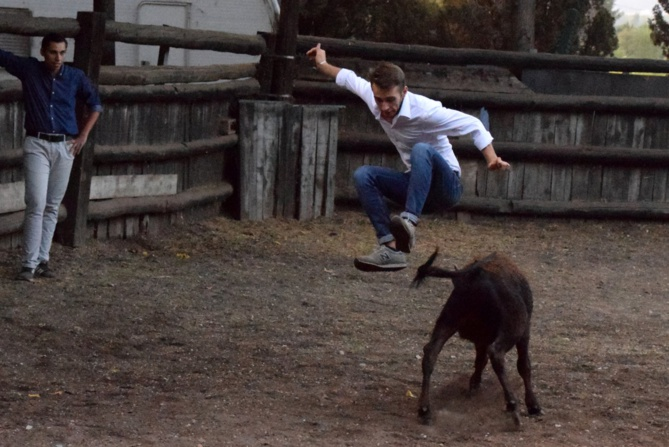 Canten saute au-dessus de l'énorme animal !!!